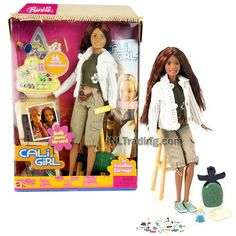 Year 2004 Barbie Cali Girl Series 12 Inch Doll - SUMMER in Tank Top, White Sweater and Khaki Cargo Capris with Ear Piercer, Stool and Earrings Barbie Box, Barbie Dolls, Earring Hole, Cali Girl, Girls Series, Barbie Collection, White Sweaters, Childhood Memories, Death