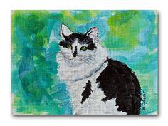 Contemporary Cat Miniature ACEO Fine Art by KneeDeepOriginals