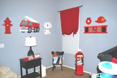 Fireman kid bedroom. So cute! check out www.roomdoodles.com