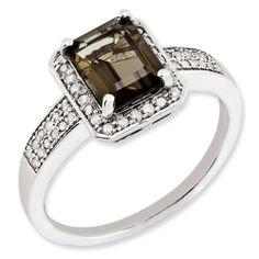 New .925 Fine Sterling Silver Diamond & Smokey Quartz Ring - Choose Size