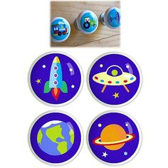 Kids Space Planets Rocket 4pc Ceramic Drawer Knobs Set 1 1/2