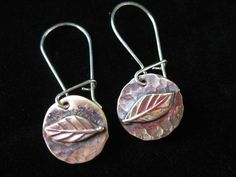 New Spring Leaf Brass and Sterling Silver Dangle Earrings