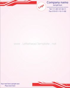 Red cornered letterhead template preview