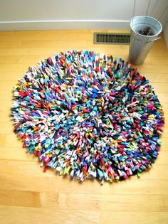 Many Colored T-shirt Rug. Love this! Wish I could make it.