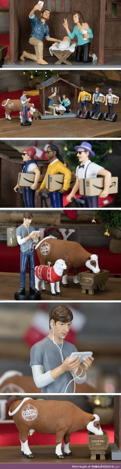 Nativity Scenes That Are Way Funnier Than Normal Ones - Hipster nativity set reimagines the birth of jesus in 2016