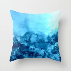 INTO ETERNITY, TURQUOISE Colorful Aqua Blue Watercolor Painting Abstract Art Floral Landscape Nature Throw Pillow