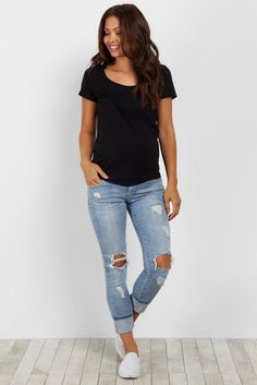 This beauty of a jean is perfect for your casual day this season. A light wash with chic distressed details give this jean a multi-faceted look. Style with your favorite maternity top and sandals for a complete look. Source by casual Maternity Jeans, Maternity Tops, Maternity Fashion, Maternity Clothes Spring, Summer Maternity, Pregnancy Fashion, Pregnancy Outfits, Maternity Style, Summer Clothes