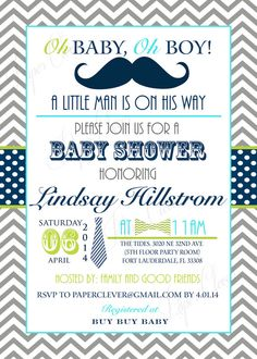 Boys Baby Shower Invitations Mustache and Bow by papercleverparty