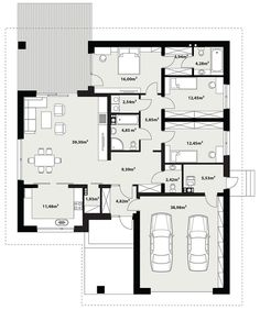 Floor plan of the Asan project - House Plans Mansion, Dream House Plans, House Floor Plans, Simple House Plans, Modern House Plans, Bungalow House Design, Small House Design, Home Building Design, Home Design Plans