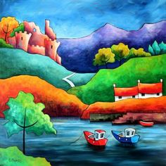 Boats Puzzle created by Mileana Image copyright: Gillian Mowbray Art And Illustration, Landscape Art, Landscape Paintings, Sea Paintings, Art Populaire, Wow Art, Naive Art, Whimsical Art, Painting & Drawing