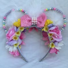 Excited to share the latest addition to my shop: Daisy Duck inspired beaded ears Micky Ears, Daisy Duck, Disney Ears, Mouse Ears, Disneybound, Looney Tunes, Dc Comics, Wire, Etsy Shop