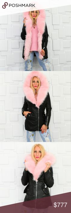 ❤2017 MMC PICK❤AMAZING JACKET❤ This jacket weighs close to 5lbs. Cannot be bundled with other items or shipping will cost additional fee.  OH my GOODNESS, DO NOT MISS OUT ON THIS COAT!  This sassy faux leather jacket trimmed in GORGEOUS faux pink fur with edgy zipper details and the MOST plush black faux fur lining ever!! A must have to look amazing and stay warm for the FALL/WINTER SEASON!   Pink faux fur is removable.   Modeled in a size small  Material. 60% polyurethane 40%viscose Plush…