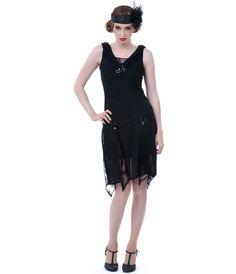 Unique Vintage Black Hemingway Flapper Dress - Unique Vintage - Prom dresses, retro dresses, retro swimsuits.