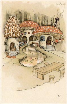 Mushroom Village - Tales of the Efteling by Martine Bijl and Anton Pieck