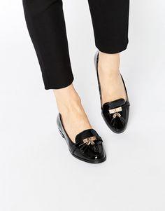 Image 1 ofMiss KG Nadia Black Tassel Loafer Flat Shoes