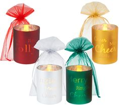 """Set of 4 Glass """"Words to Live By"""" Flameless Candles w/ Bags by Valerie — QVC.com"""