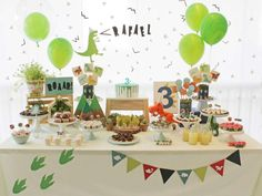 Check out this cool Dinosaurs Birthday Party! Love the dessert table! Looks like such a fun party!! See more party ideas and share yours at CatchMyParty.com #dinosaur #birthday