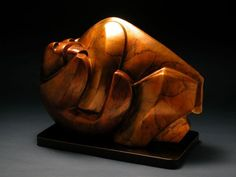 #Bronze #sculpture by #sculptor Mark Yale Harris titled: 'Unbearable (bronze Semi abstract Contemporary Bear statuette statue)'. #MarkYaleHarris