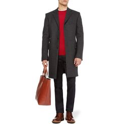 John Smedley Hunter Fine-Knit Merino Wool Sweater / Jil Sander coat, T-shirt and bag, Paul Smith trousers and Grenson boots.