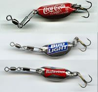 Bottle caps bent into Fishing lures. Cool