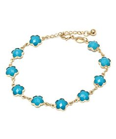Another great find on #zulily! Gold & Turquoise Flower Link Bracelet by Sevil Designs #zulilyfinds