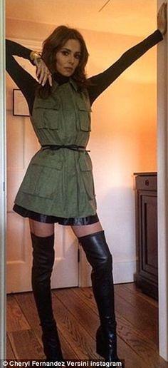 Cheryl Fernandez-Versini shares a glimpse at her super-skinny legs #dailymail