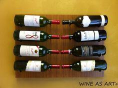 'WINE AS ART' by Kessick - The artistic presentation of wine in a wall mounted format. Shown in bamboo veneer. Wine Cellar Racks, Wine Cellars, Contemporary Wine Racks, Wine Storage, Bamboo, Presentation, Wall, Riddling Rack, Contemporary Kitchen Wine Racks