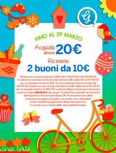 Ottieni due #buoni da 10 euro con il #codice #sconto #Groupalia