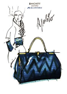 Sketch of the bag in #Alcantara by @Zanchetti_bag with figure in background