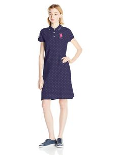 U.S. Polo Assn. Juniors' Polka Dot Pique Polo Dress