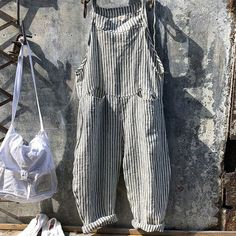 For Sale - Cotton Linen Rompers 2019 Summer Autumn Striped Casual Femme Lady Overalls Straight Rompers Loose Female Jumpsuit Streetwear Striped Jumpsuit, Casual Jumpsuit, Baggy Jumpsuit, Harem Trousers, Casual Wear, Harajuku, Jumpsuit With Sleeves, Playsuit Romper, Shopping