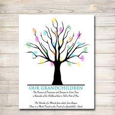 Grandparents Day Gift | Grandkids Thumbprint Art – TidyLady Printables Grandparents Day Poem, Grandparent Gifts, Teacher Retirement Gifts, Thumbprint Tree, Personalized Teacher Gifts, Teacher Appreciation Week, Appreciation Cards, Handprint Art, One Tree