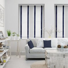 Arctic White & Navy Faux Wood Blind - 50mm Slat