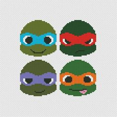 Ninja Turtles PDF Cross stitch pattern by UAHomeMadeStudio Cross Stitch Charts, Cross Stitch Designs, Cross Stitch Patterns, Cross Stitching, Cross Stitch Embroidery, Beading Patterns, Embroidery Patterns, Crochet Ninja Turtle, Perler Bead Art
