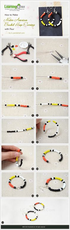 DIY Jewelry : How to Make Native American Beaded Hoop Earrings with Four-Colored Seed Beads Seed Bead Jewelry, Seed Bead Earrings, Diy Earrings, Beaded Jewelry, Handmade Jewelry, Seed Beads, Hoop Earrings, Earrings Handmade, Beaded Earrings Native