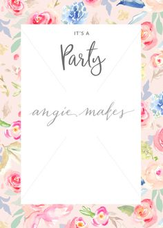 Painted Flowers Party Invitation Blank Watercolor Flower Girls Template