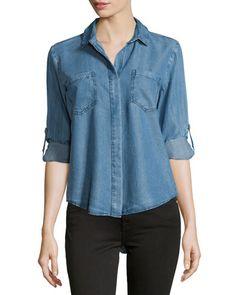 Velvet Heart Chambray Tab-Sleeve Split-Back Blouse, Light Blue New offer @@@ Price :$98 Price Sale $69
