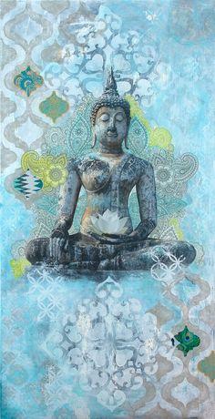"Calm Reflections 30"" X 60"" mixed media collage on wood panel. Meditation, Buddha art, inspirational art, lotus flower. Collage, mixed media art."