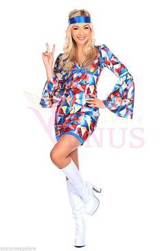 Ladies Costume Fancy Dress Up Retro 70's Hippie Abba (138) Sz 6,8,10,12,14,16