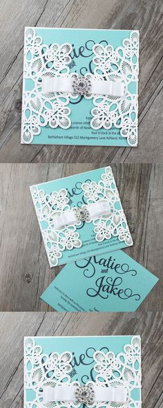 Tiffany Blue Invitations, Tiffany Blue Wedding Invitations, Tiffany Blue Laser Cut Invitations