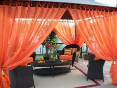 Patio Pizazz Outdoor Gazebo Sheer Drapes (2) Panels Curtains | eBay