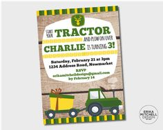 John Deere Tractor Birthday Invitation Birthdays Birthday Party - John deere 2nd birthday party invitations
