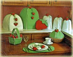 Strawberry Kitchen Set Sewing Patterns Appliance Covers ++