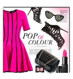 """Pop Of Colour"" by firstboutique ❤ liked on Polyvore featuring Philipp Plein, NARS Cosmetics, Linda Farrow and Pink"