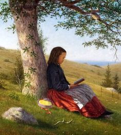 William Moore Davis (American artist, Girl Reading by a Tree c 1875 by mandy People Reading, Girl Reading Book, Reading Art, Woman Reading, Kids Reading, Reading Books, I Love Books, Good Books, Photo Facebook