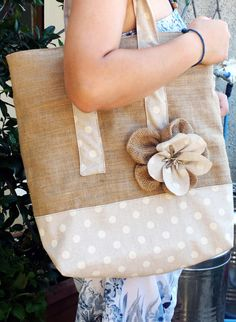Items similar to Jute Tote Bag on Etsy Jute Tote Bags, Burlap Tote, Potli Bags, Creation Couture, Bag Patterns To Sew, Patchwork Bags, Denim Bag, Reusable Bags, Little Bag