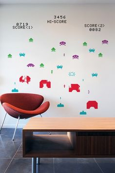 SPACE INVADERS in 8-BIT ~ RE-STIK – Wall Decals [ more decals on www.8bitdecals.com ]