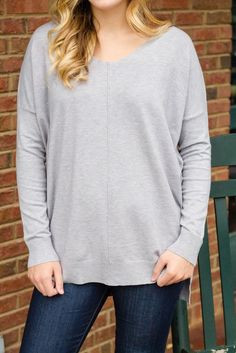 2e0992c15fb All That I Do Sweater-Heather Grey. Juliana s Boutique