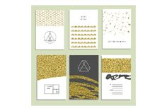 24 invitations with gold glitter