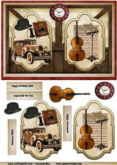 Male Card Nostalgia on Craftsuprint designed by Marijke Kok - great male card with a lot of vintage details,a car, music,violin,hat,panels,for any occasion. - Now available for download!